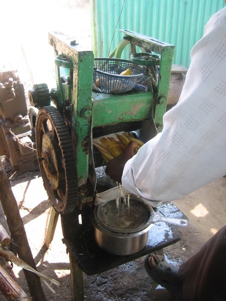 Sugar cane squeezed through a grinder makes a great drink in Cambodia
