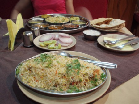 The most popular local dish in Oman is chicken biryani