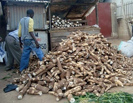 Muhogo is barbecued or fried cassava served with salt and chilli powder or kachumbari