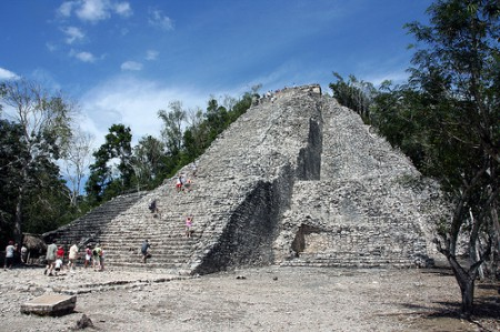 The 'castillo' of the Mayan archaeological site of Coba, near Cancun, Mexico