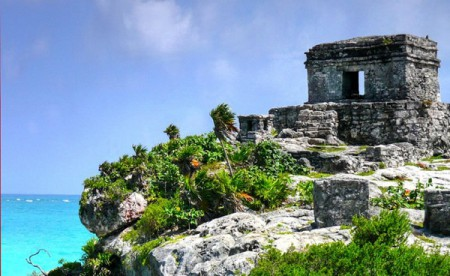 The Tulum ruins are of  a small coastal city near Cancun, Mexico, that counted less than a thousand people.