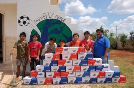 Volunteers and donated milk, Yucatan Mexico