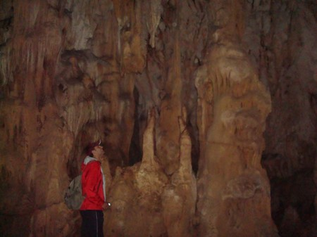A stalagmite in the Cave of Pellumbas, Albania