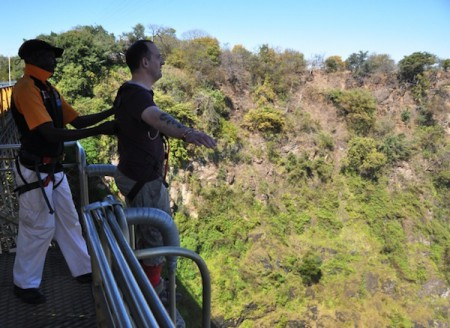 On the platform of Victoria Falls Bungee