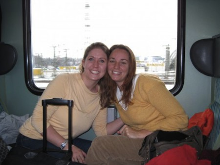 Amber (right) and Morgan finally comfortable on the train to Passau, Germany