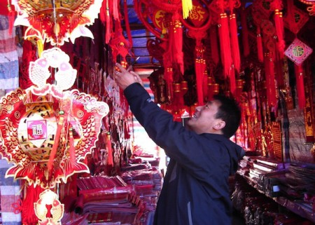 Elaborate Spring Festival new-year decorations in Lijiang, China