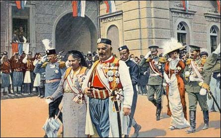 King Nikola and Queen Milena in front of the Vladin Dom of Cetinje, Montenegro
