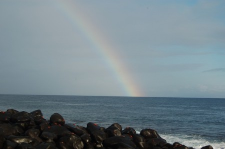 A rainbow brightens the Galapagos Islands