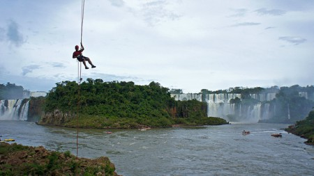 A rappel in front of the Brazilian side of the Iguassu Falls