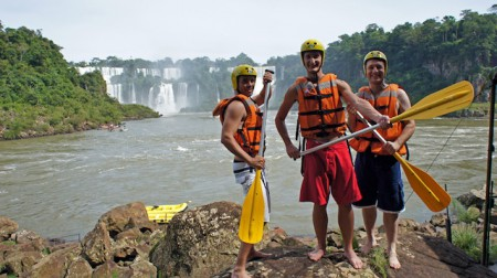 Rafters posing with the Iguassu Falls in the background