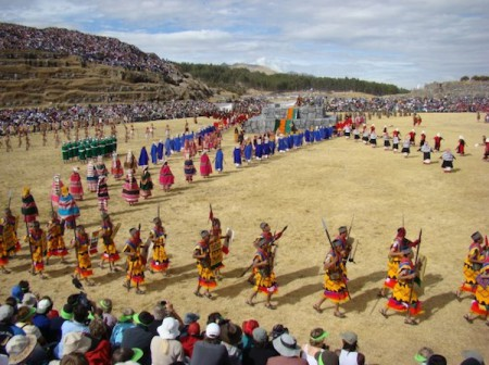 Hundreds of vibrantly costumed actors recreate the traditional Incan Inti Raymi festival near Cusco, Peru