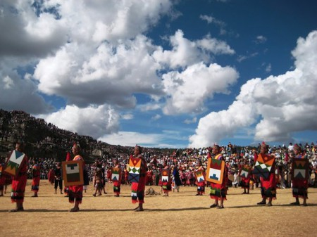 Banner bearers form one of many ceremonial groups in the Inti Raymi festival of Cusco, Peru
