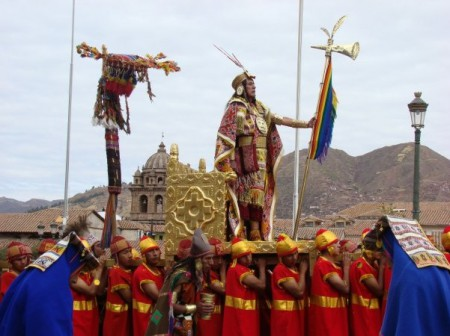 The Inti Churin (Son of the Sun) is carried to the Sacsayhuaman archeological site during the Inti Raymi festival
