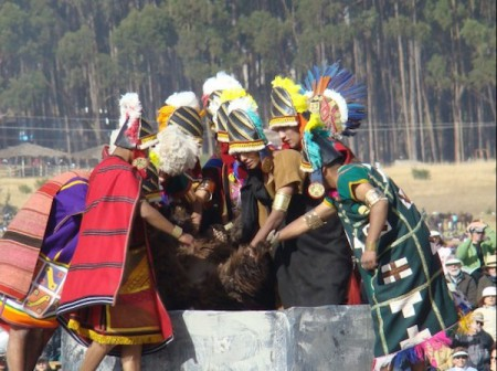 On the Ushnu, or altar, the Inti Churin and his court reenact the sacrifice of a llama as part of the Inti Raymi festival of Cusco, Peru
