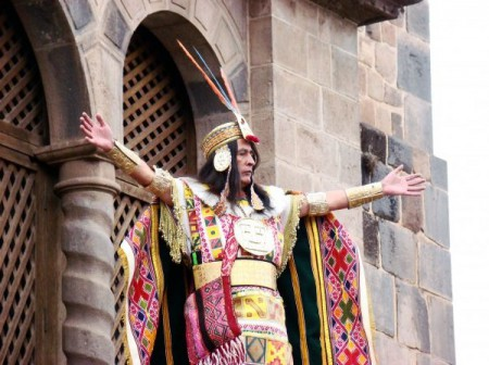 """Upon the field at Sacsayhuaman, north of Cusco, Peru, the Inti Churin declares: """"We are here to celebrate you."""""""