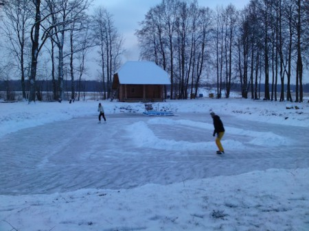 A homemade ice rink in Lithuania