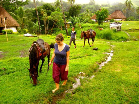 Yolanda Clatworthy rides horses with her friend Katie in the interior highlands of Fiji