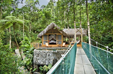 The Pacuare Lodge on the Pacuare River in Costa Rica is deep inside a 25,000-square-kilometre primordial forest home to jaguars, ocelots, monkeys, sloths