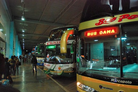 Bus terminal in South America
