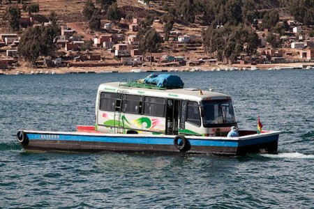 Bus in boat on Strait of Tiquina, Bolivia
