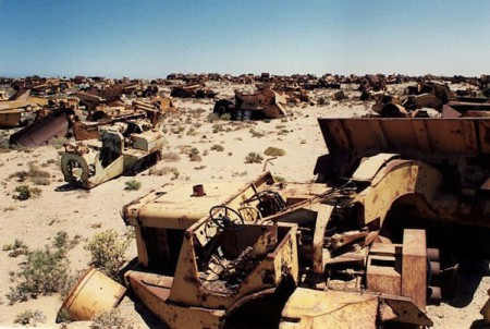 Outmoded vehicles and machines in South Africa dumped by the Consolidated Diamond Mine, owned by De Beers
