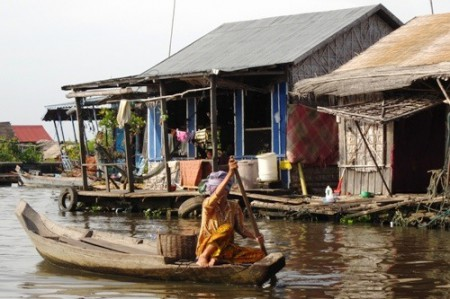 Floating Market Boat on Tonle Sap, Cambodia