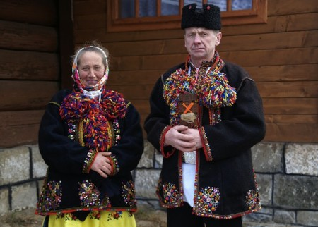 Hutsul people of Ukraine wearing traditional clothes