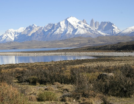 Torres del Paine (Towers of Paine) peaks of the Paine massif in Torres del Paine National Park, Chile