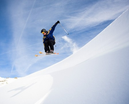 Air time on the slopes in the European Alps