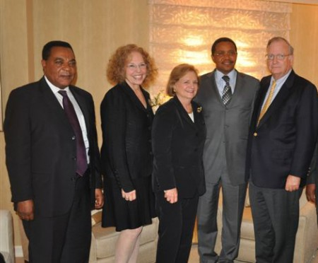From left, Dr. Augustine P. Mahinga, Ann Hanin, Judy Smith, President Jakaya Kikwete, and Stephen Smith. Photo courtesy of Anne Wells