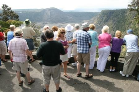 large tour group, Big Island, Hawaii