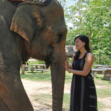 Cindy Fan and elephant in Luang Prabang, Laos