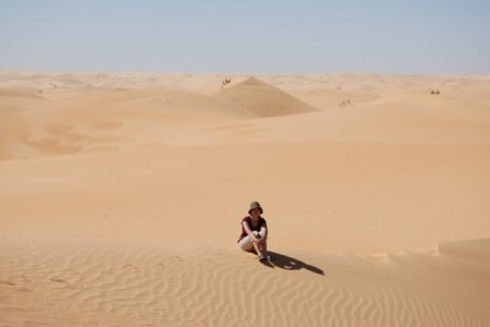 Cindy Fan at the dune field of Chinguetti, Mauritania