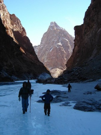 A sherpa and son on the Chadar Trek in Ladakh, India