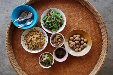 Home cooked meal, homestay, Laos