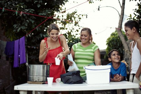 Luz and her two spirited young sons in Bucerias, Mexico