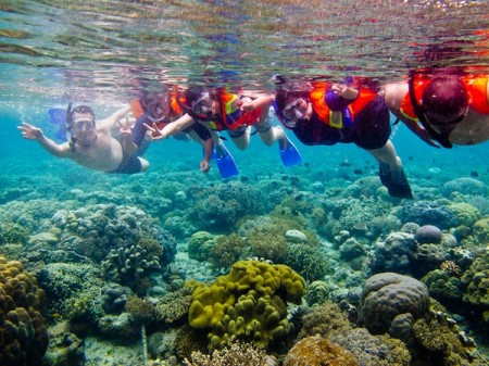 Snorkeling around Bunaken Marine Park near Manado, Indonesia