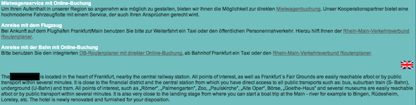 Screenshot of a hotel website with bad translations