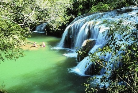 Travellers enjoy natural pools near Bonito, Brazil.