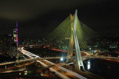 Night view of Octavio Frias Estaiada Bridge, São Paulo, Brazil