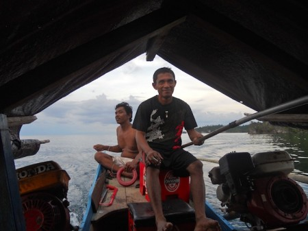 Boat pilots in the Togean Islands, Indonesia