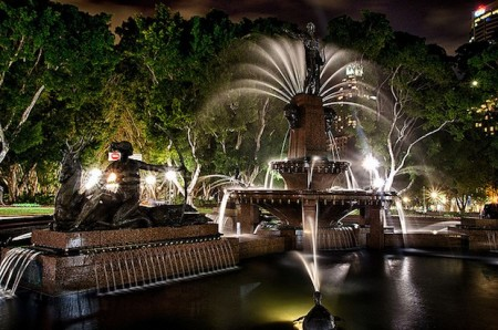 Archibald Fountain at night, Hyde Park, Sydney, Australia