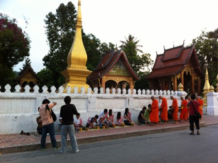 morning alms in luang prabang laos 2