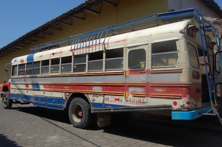 A typical countryside bus in Nicaragua
