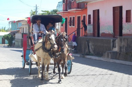 Horse and buggy taxi in Granada, Nicaragua