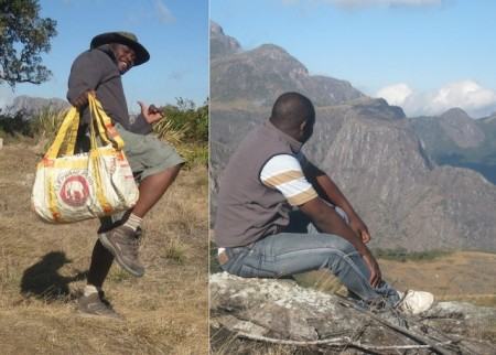 Andrew Kayuni of the Responsible Safari Company on Mount Mulanje with his Elephant Branded bag