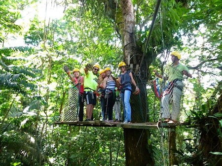 A tree platform between zip lines at Pozo Azul in Costa Rica