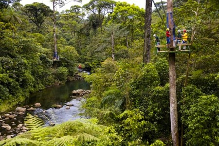 A zip line in Costa Rica at the Rainforest Adventures Atlantic park spans the Corinto River