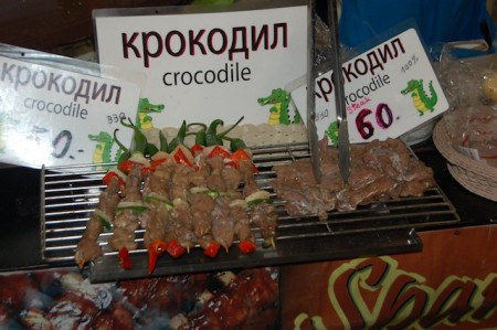 Crocodile meat in Patong's night markets of Phuket, Thailand