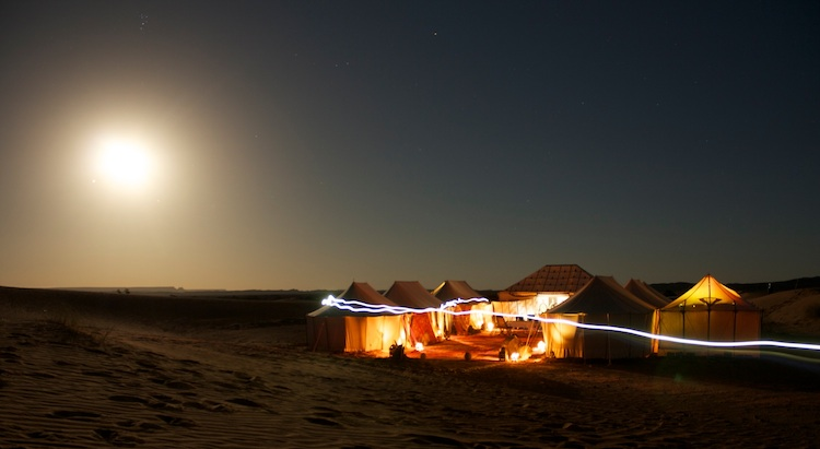 Light painting in a private camp in the Sahara Desert of Morocco